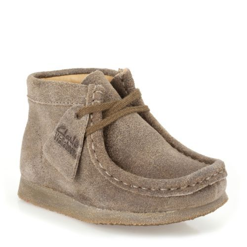 1f050b174c9 Boys Wallabee Boot First Taupe Distressed Suede - Clarks Originals ...
