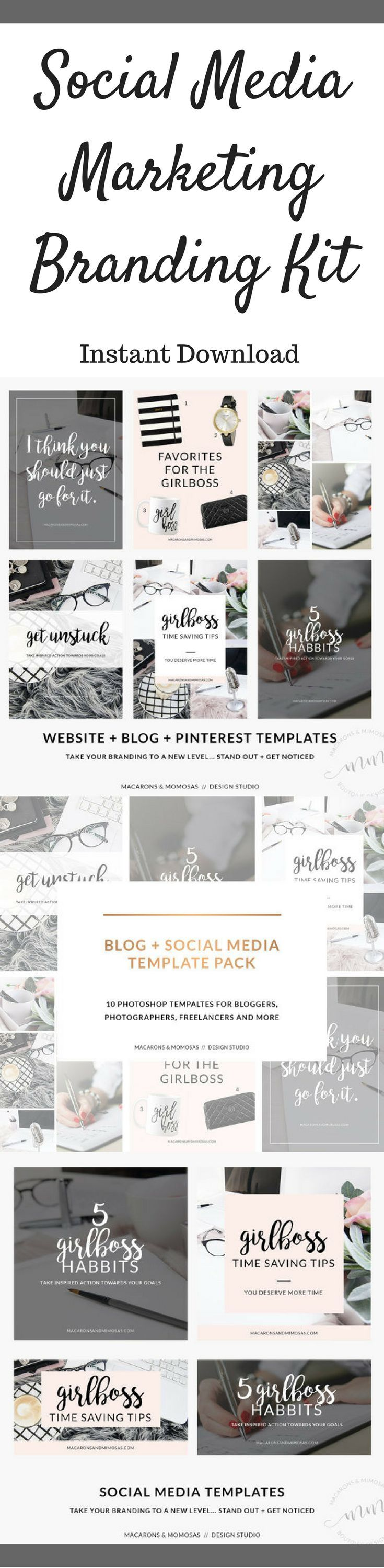 Social media marketing branding kit with 10 photoshop templates included. #ad #blogging #socialmedia #socialmediamarketing #branding #photoshop