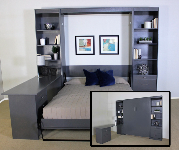 The Benicia wallbed hides perfectly next to your desk