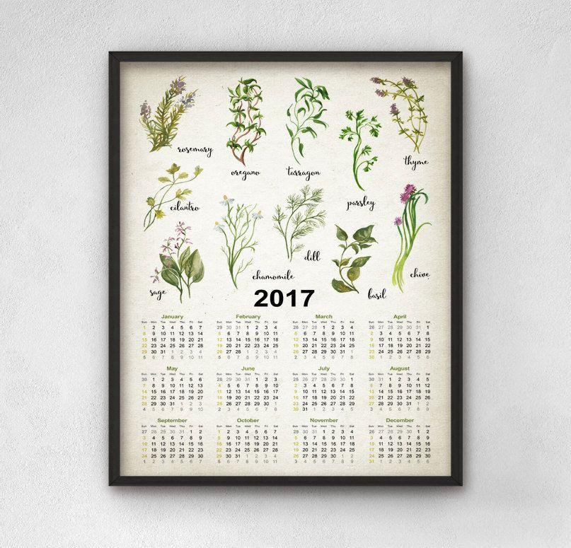 Superbe Kitchen Herbs Calendar 2017 Kitchen Calendar, Watercolor Herbs Calendar  From Quantum Prints