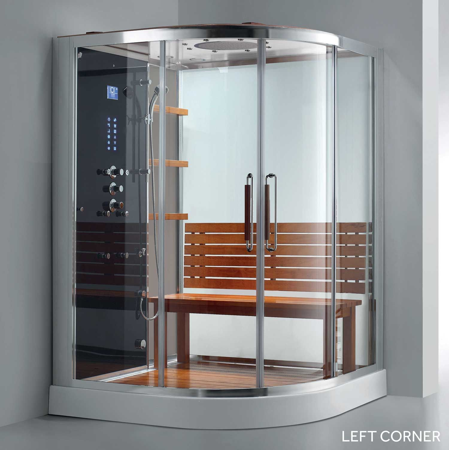32 X 48 Rectangular Corner Shower Enclosure With Curved Front