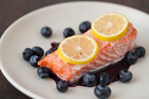 Blueberry Salmon Fillets. Delicious and nutritious superfood, blueberries are loaded with antioxidants, while salmon is rich in omega-3 fatty acids as well as vitamins and minerals. #HeartHealth