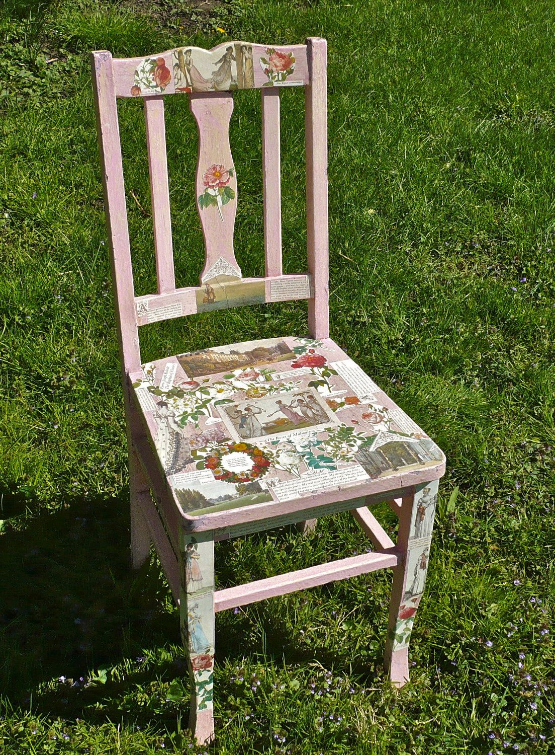Chair, Decoupage Collage, Wooden Chair, Pink Chair, Florals, Eclectic Artsy  Seating, Funky Furniture, Painted Furniture, Unique Furniture