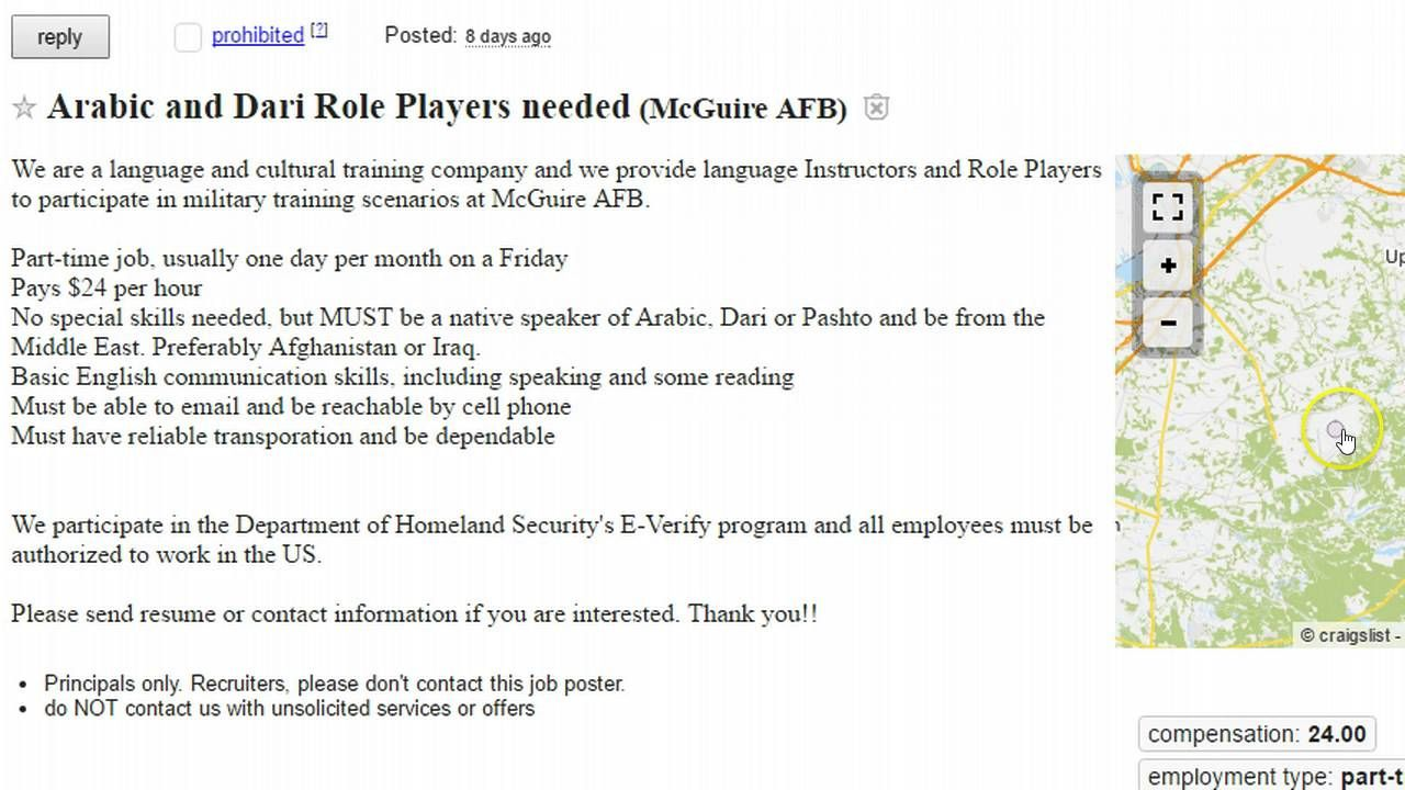 Very Curious Craigslist Ad Seeks Arabic And Dari Role Players At