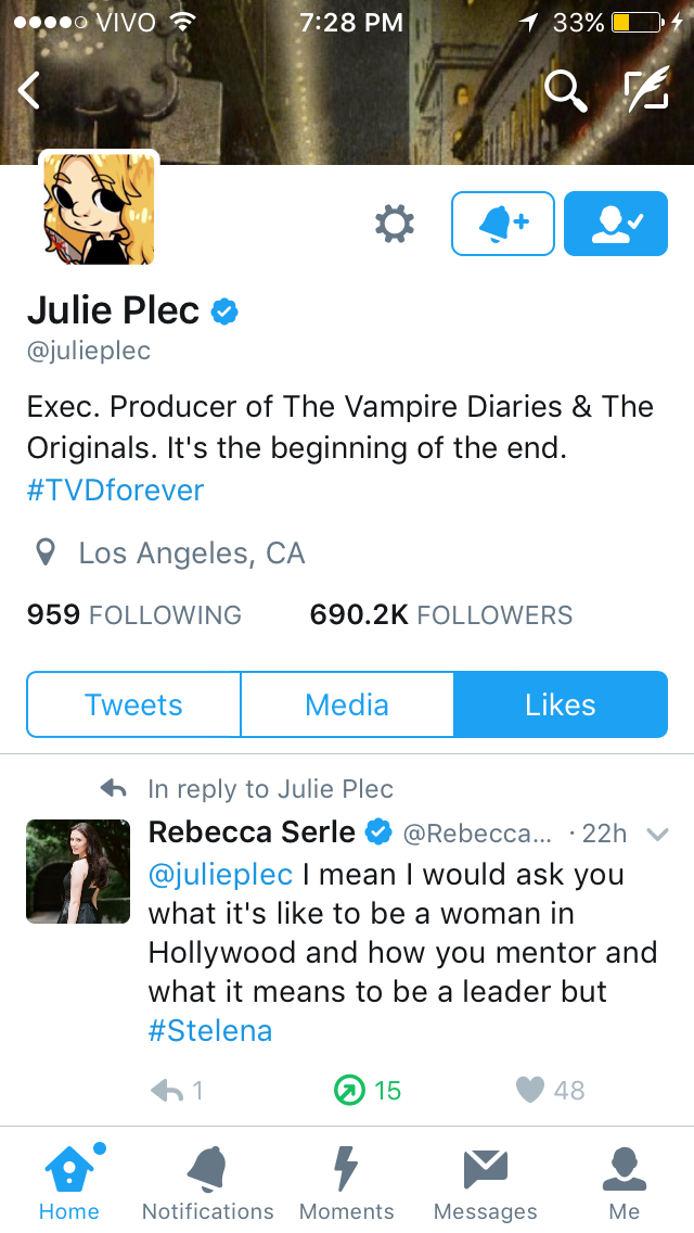 julie plec liked a tweet about stelena