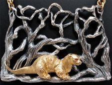 Vintage Endangered Species Napier Necklace Book Piece Sea Otter Figural Mystical