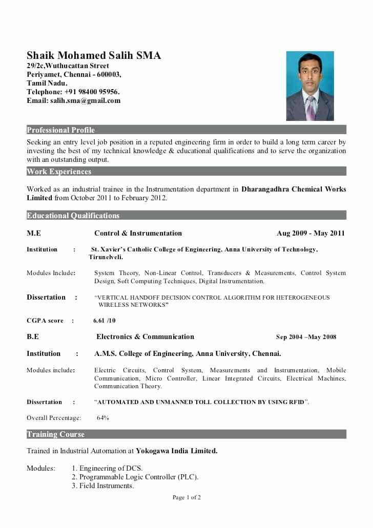 sample resume for freshers engineers instrument engineer