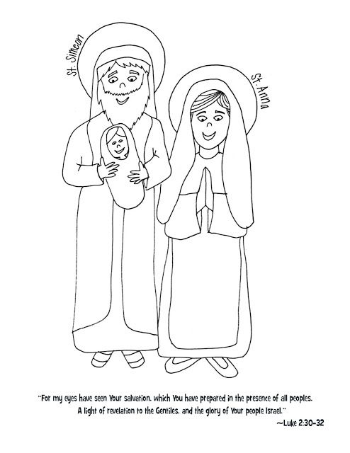 Sts. Simeon & Anna Coloring Page (Look to Him and be