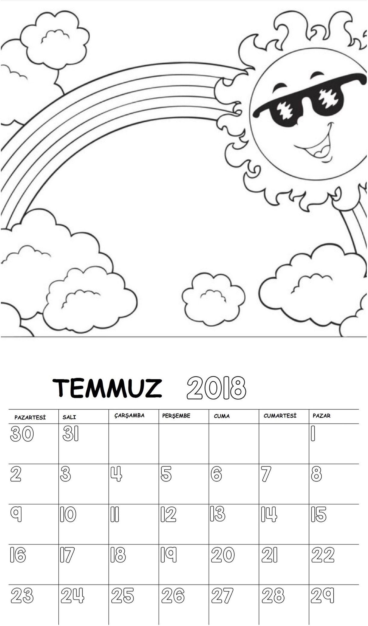 Okul öncesi 2018 Boyama Sayfalı Takvimi Takvim 2018 Preschool