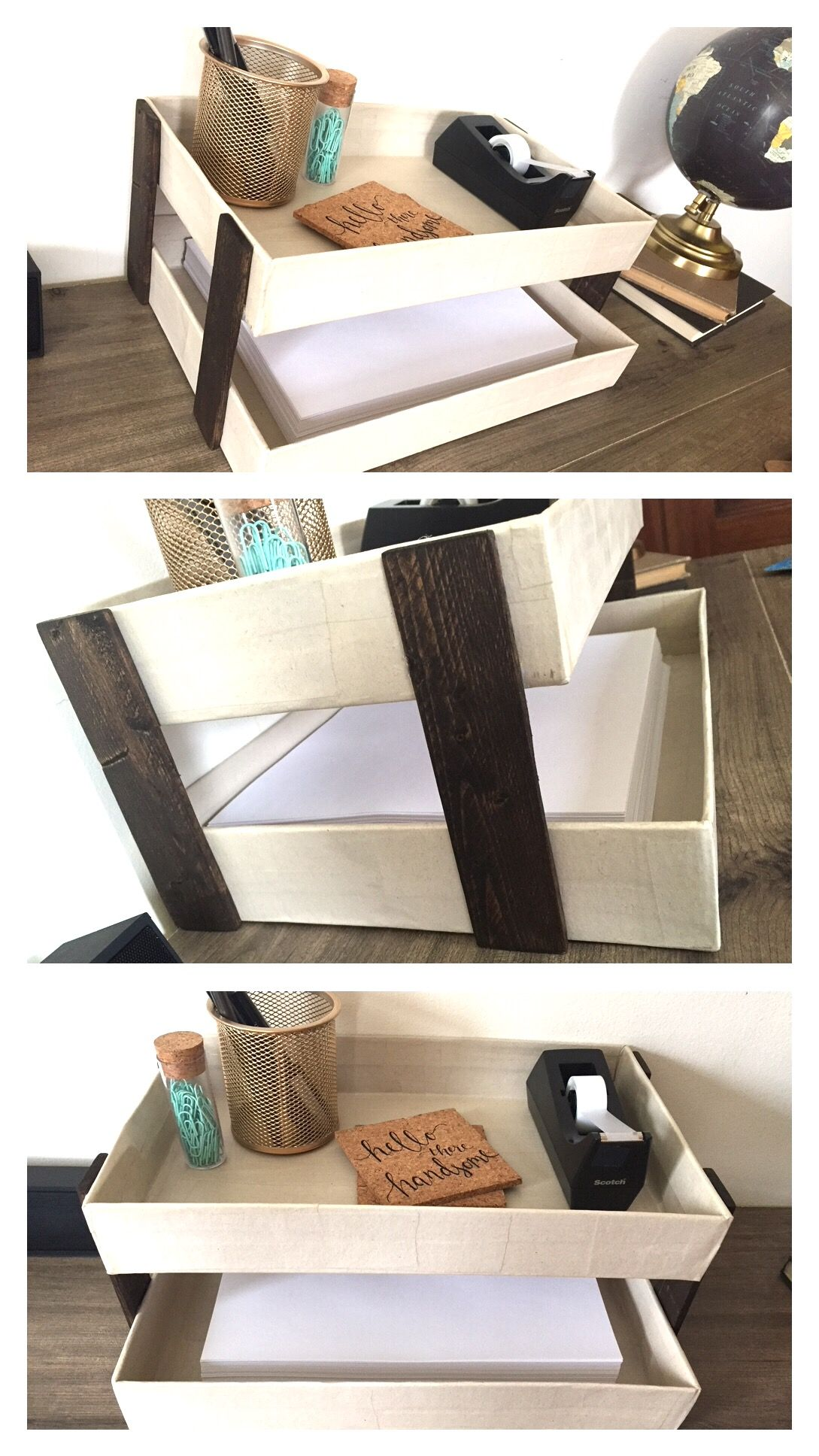 DIY Desk Organizer HOW TO paper mache' over 2 shoe box