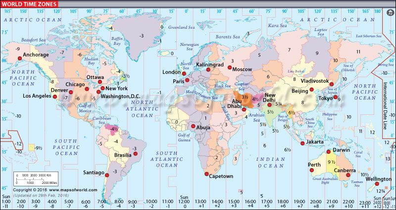 World Map with Time Zones | Maps | International time zone map ...