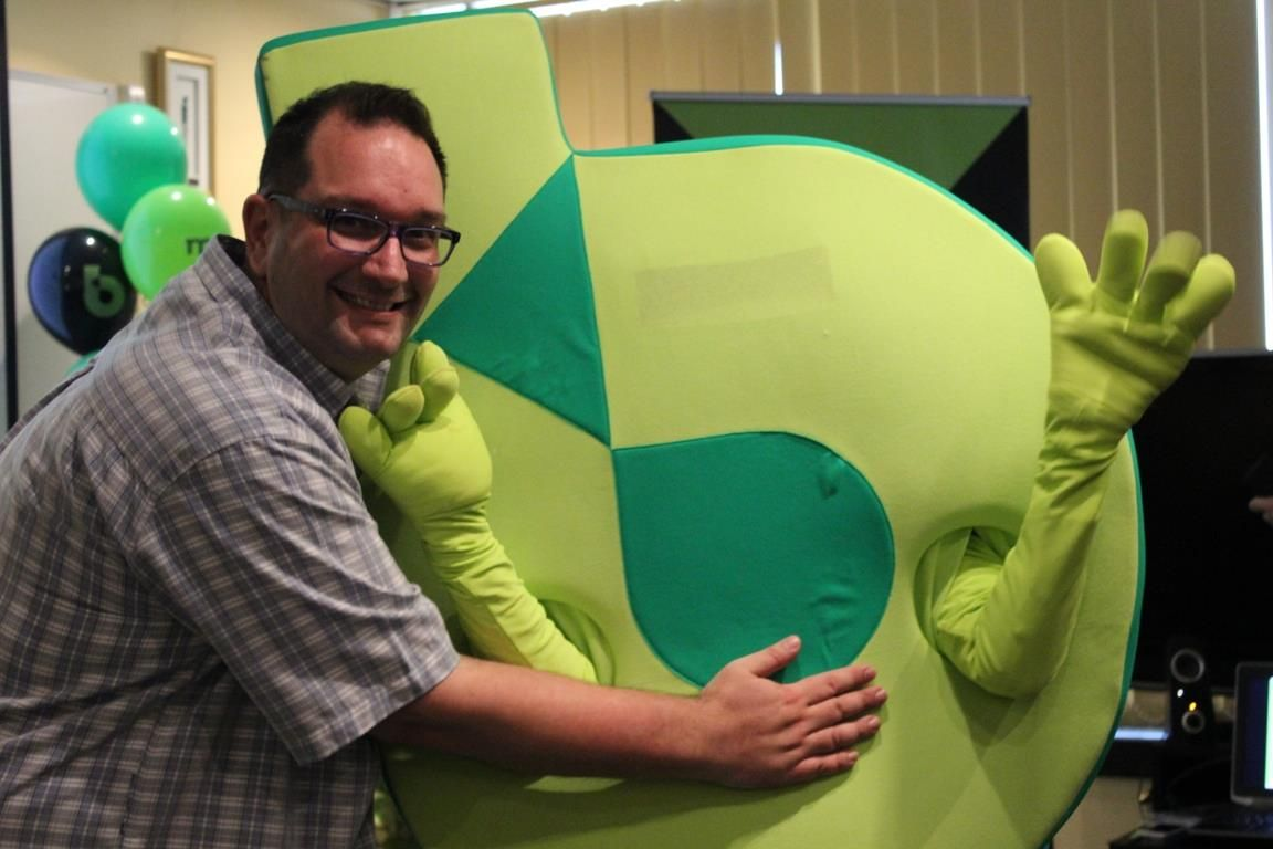Hugging the Bartercard mascot!