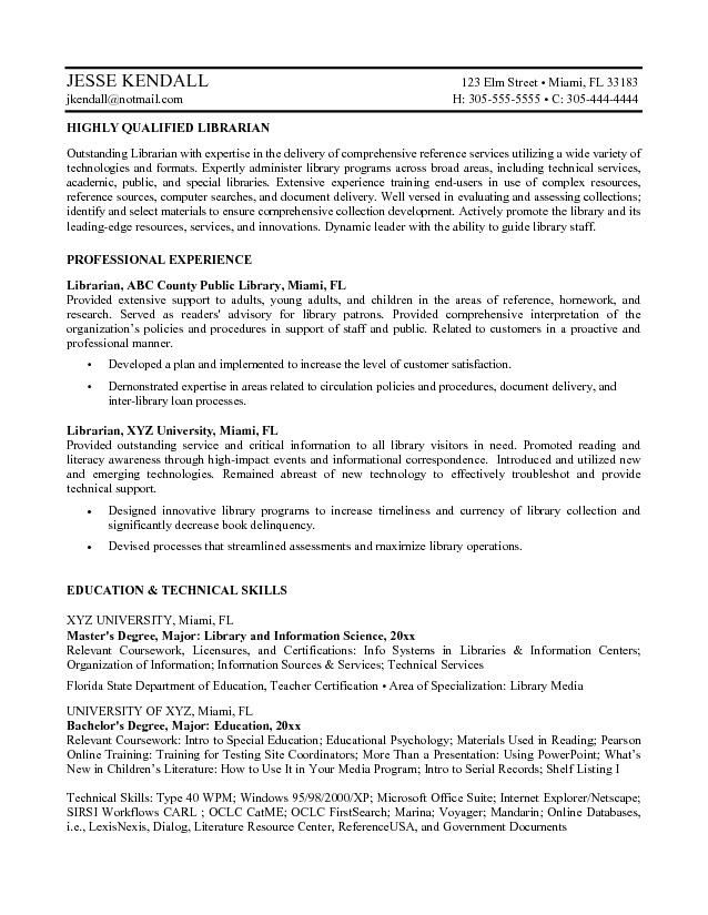 Librarian Resume Examples #1217 - http\/\/topresumeinfo\/2015\/01\/09 - sample librarian resume