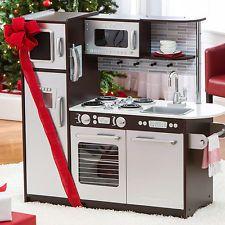 Kidkraft Uptown Espresso Refrigerator Kitchen Kids Toddler Pretend Play Set Wood
