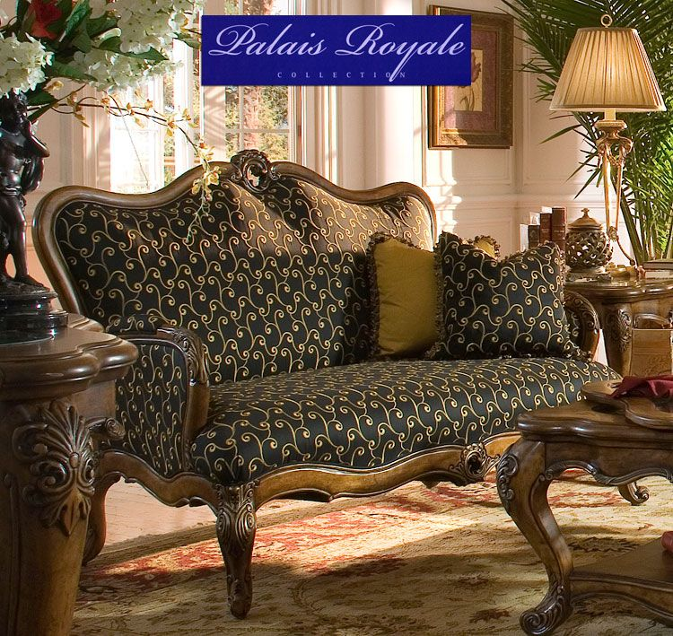 Palais Royale. Wood Trim Settee. Includes Two Back Pillows