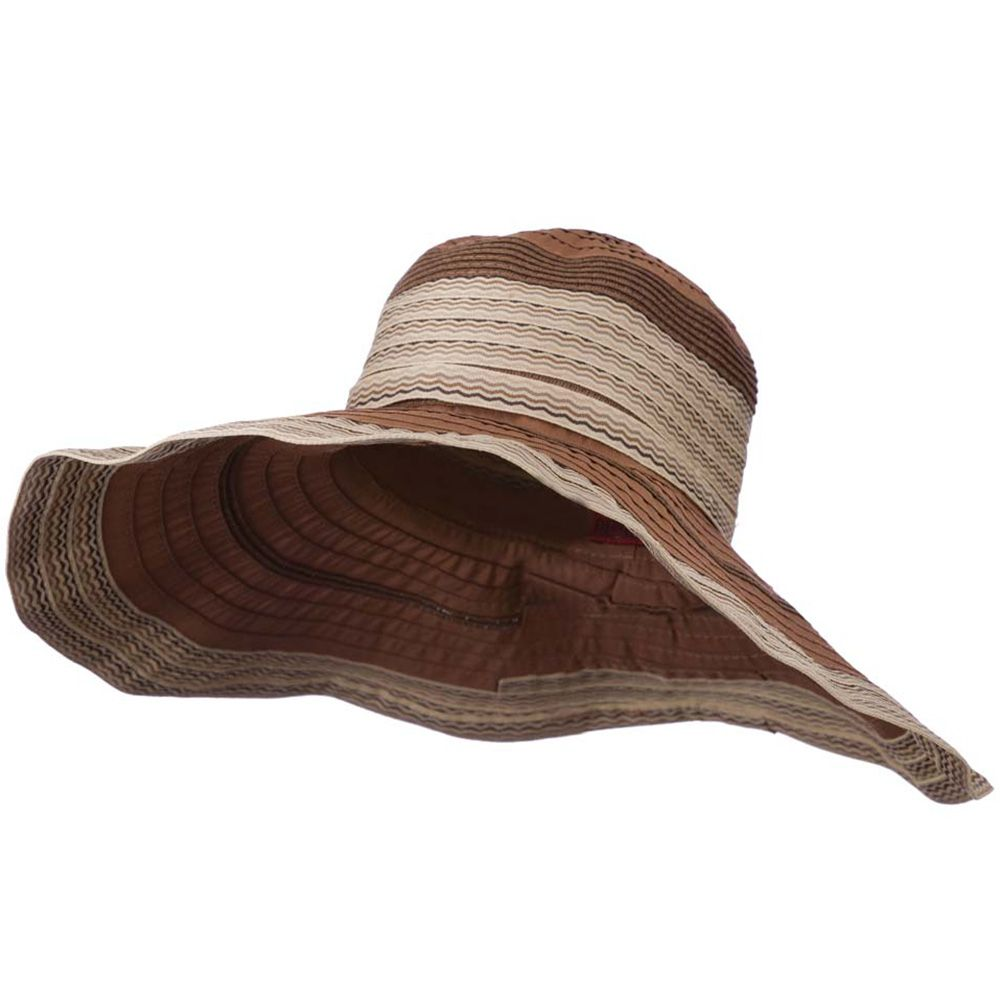 Women S Hat With Wave Design Ribbon Brown Hats For