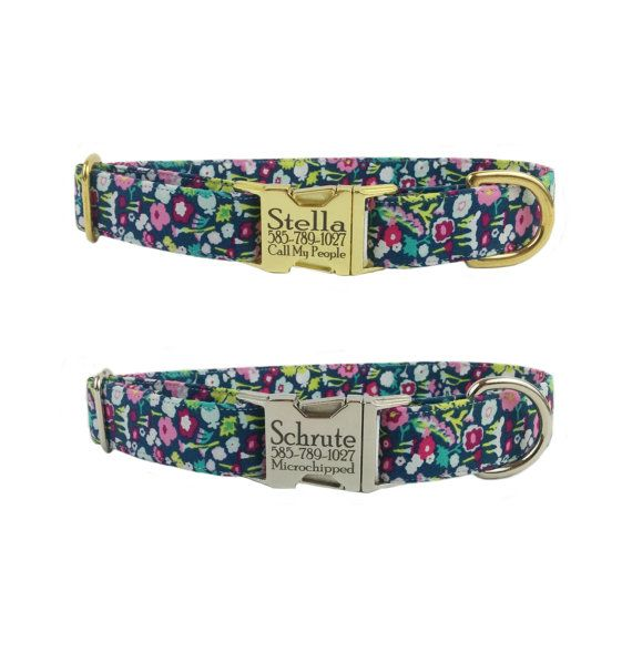 Personalized Laser Engraved Metal Buckle Colorful Girly Floral Spring Summer Dog Collar- Gold Or Nickel Finish- 2-3 Week Ship Time