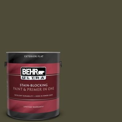 Behr Ultra 1 Gal S H 760 Olive Leaf Flat Exterior Paint And Primer In One Interior Paint Paint Primer Behr