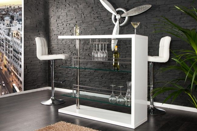 Design Bartisch Barkeeper Hochglanz Weiss 120cm Hausbar Der