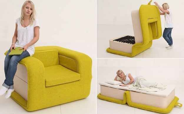 Multifunctional arm chair with a bed attached: