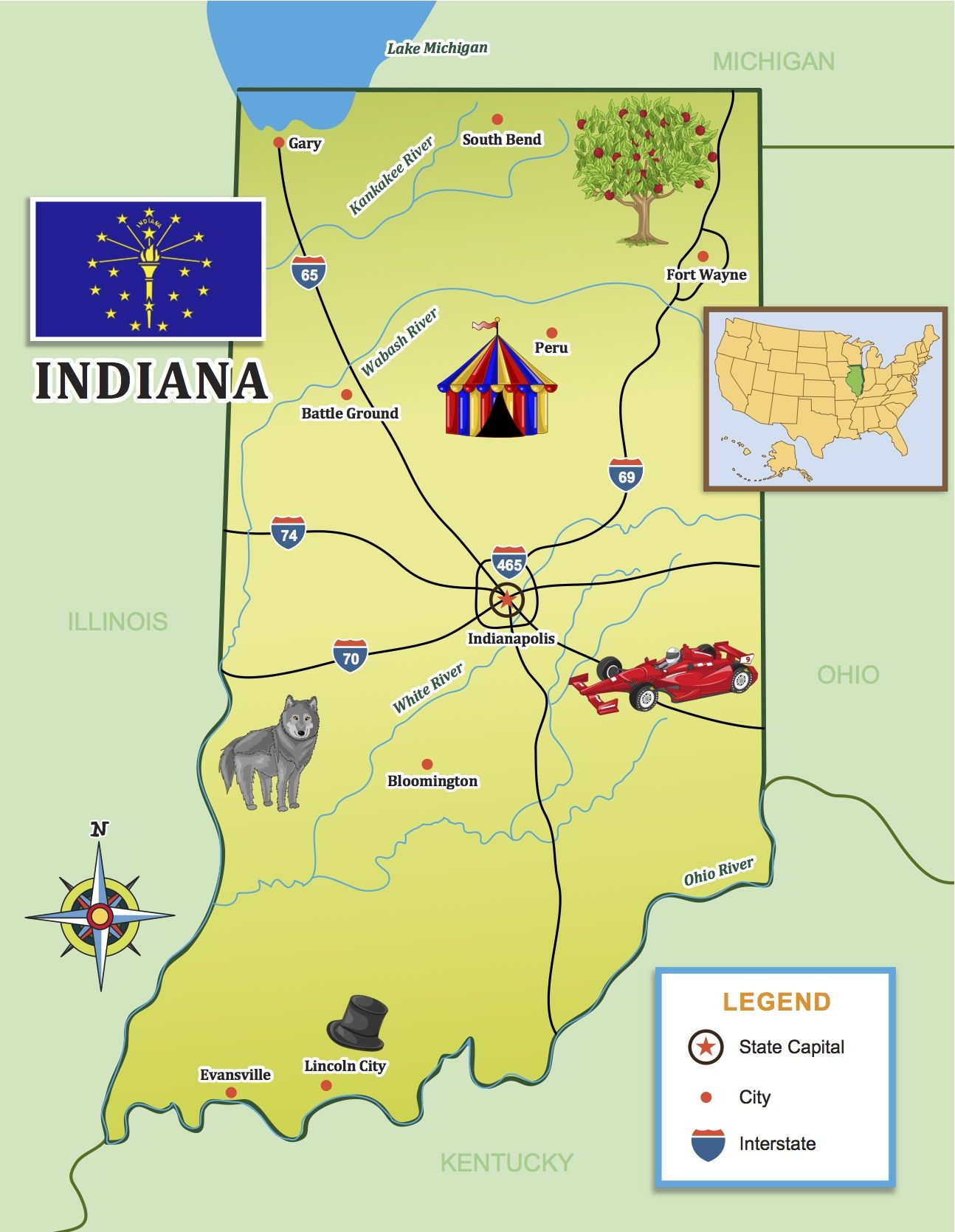 Indiana On Map Of Us.Race Around Indiana With Our State Journal Map Little Passports