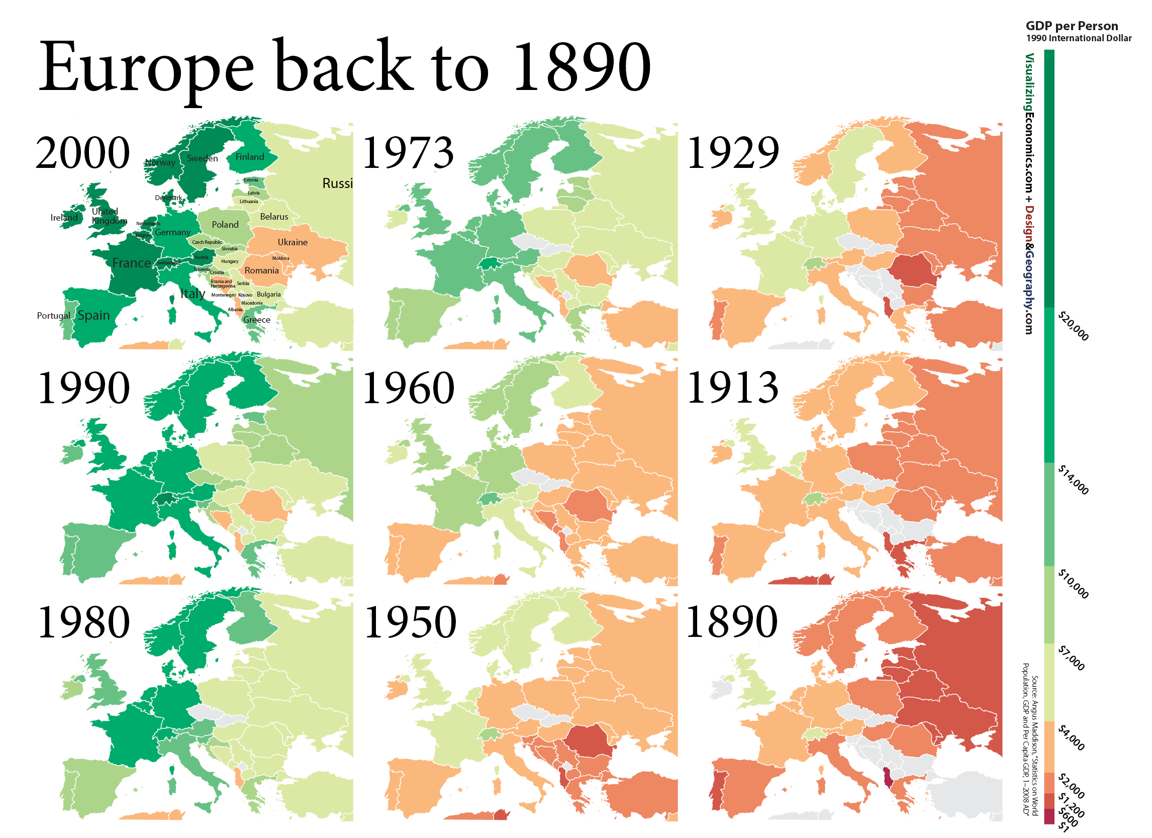 Gdp Per Capita In Europe 1890 Vs 2017