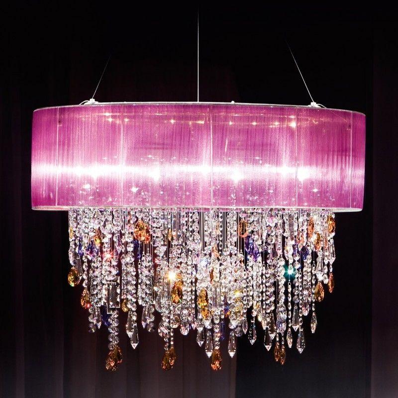 Paralume Crystal Chandelier Ceiling Light Violet Kolarz Lighting