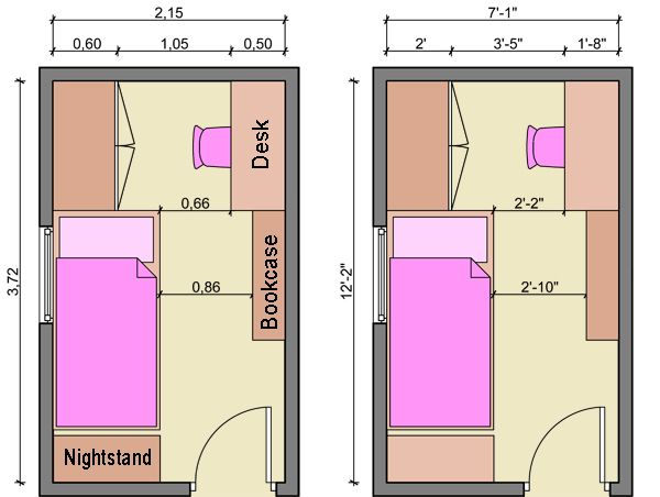 bedroom with desk layouts - Long Bedroom Design