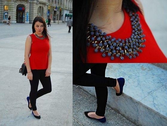 Zara Peplum Top, Zara Pants, Zara Flats, Thboxes Necklace, Oasap Bag    http://lovepotion-number5.blogspot.ro/