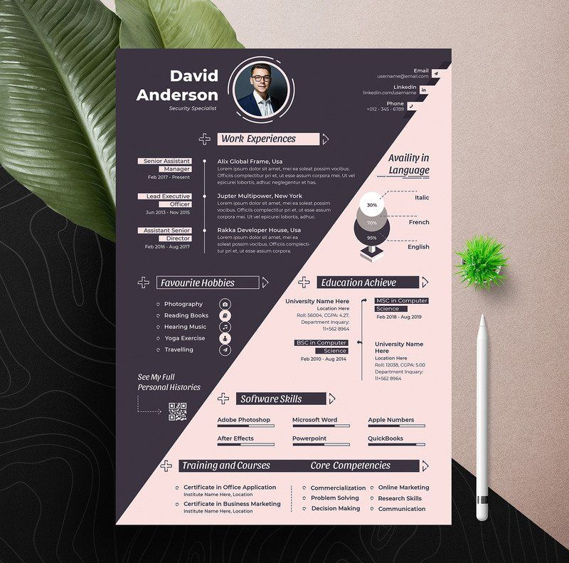 Prof Modern Resume/Cv Template With Ms Word, Apple Pages