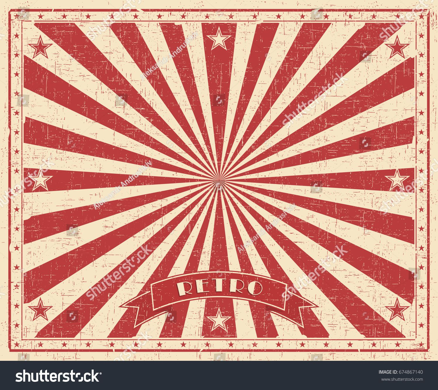 Grunge Circus Vintage Background Horizontal Retro Poster Vector Illustration With Red Raysbackground Horizonta Background Vintage Retro Poster Vintage Grunge