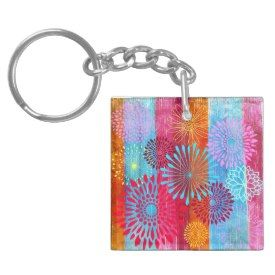 Pretty Bold Colorful Flower Bursts on Wide Stripes Acrylic Keychain