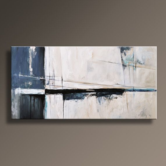 """Sold Original Abstract Painting Pearl White Blue Wall Art: 75"""" Large ORIGINAL ABSTRACT Painting On Canvas"""