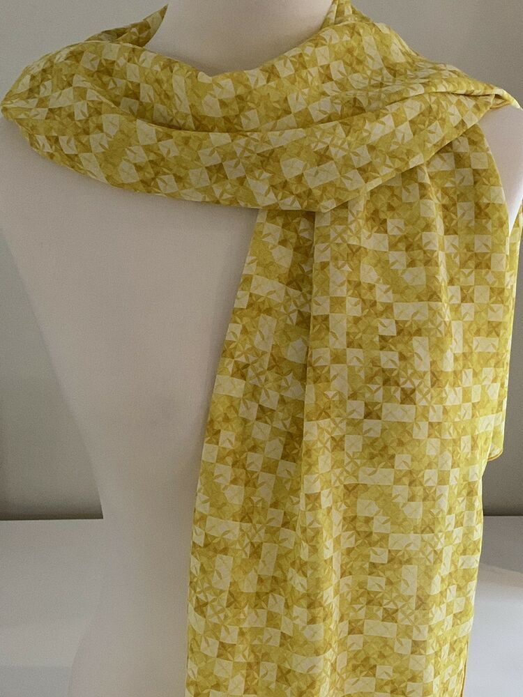100 Silk Scarf Liberty Of London Potters Quilt Gold Yellow White 35x170cm Ebay Liberty Of London Silk Scarf