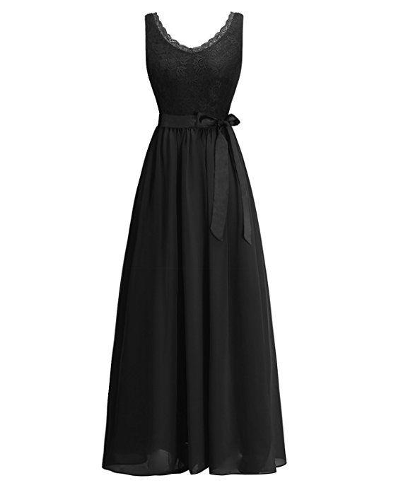Timormode TM10168 Chiffon Kleid mit Spitzen Maxikleid Lang ...