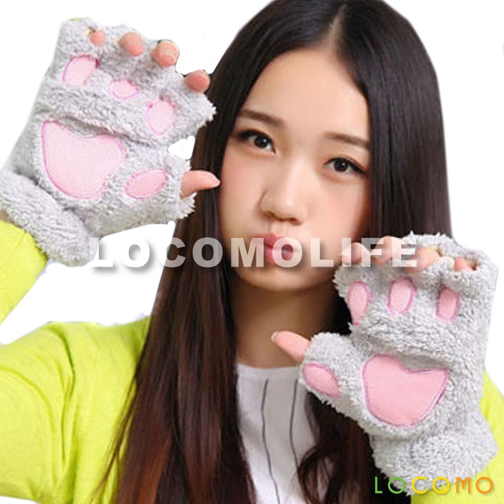 Women Girl Cute Cat Kitten Paw Fingerless Faux Fur Gloves Gray Fur Gloves Women S Mittens Cold Weather Gloves