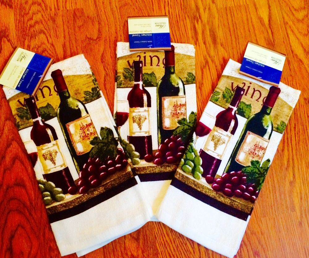 Wine Themed Kitchen Wine Themed 3 Pc Kitchen Towel Set W Wine Glass Grapes Wine