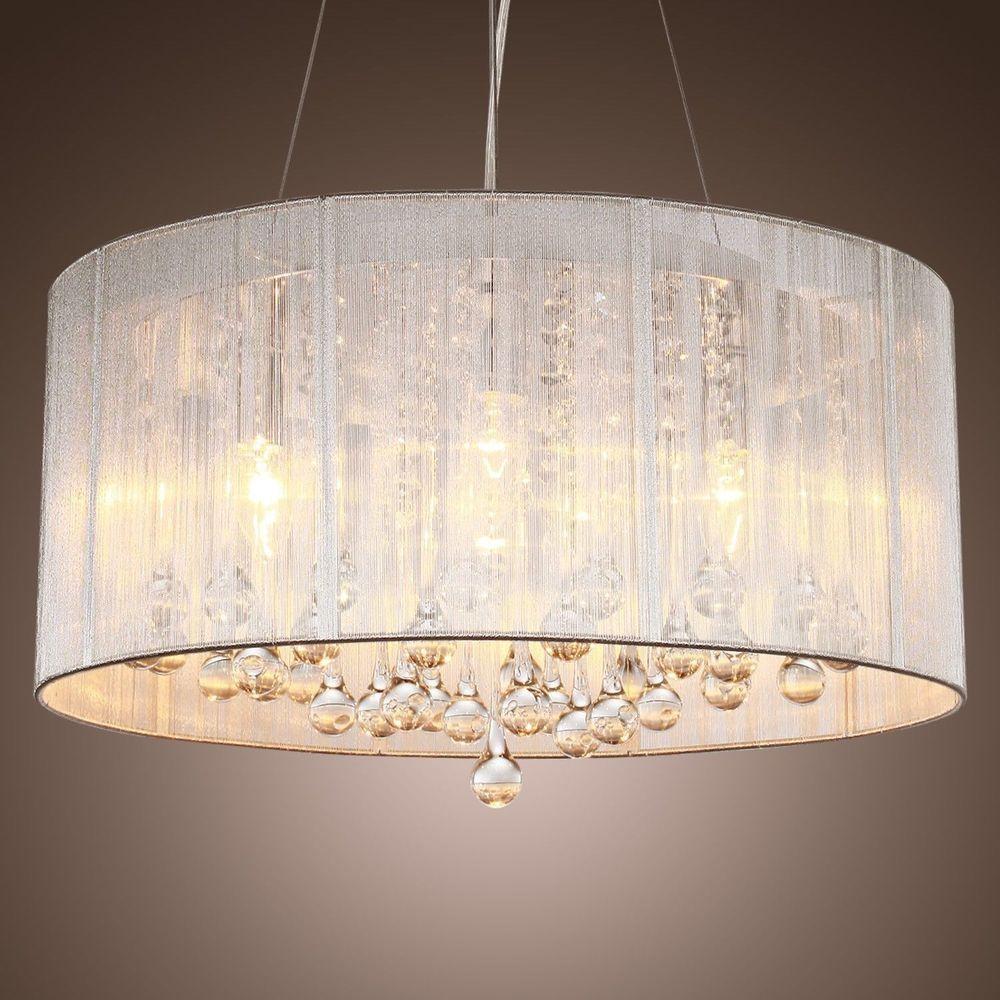 Modern Drum Pendant Lamp Light Chandelier Crystal Fabric Ceiling
