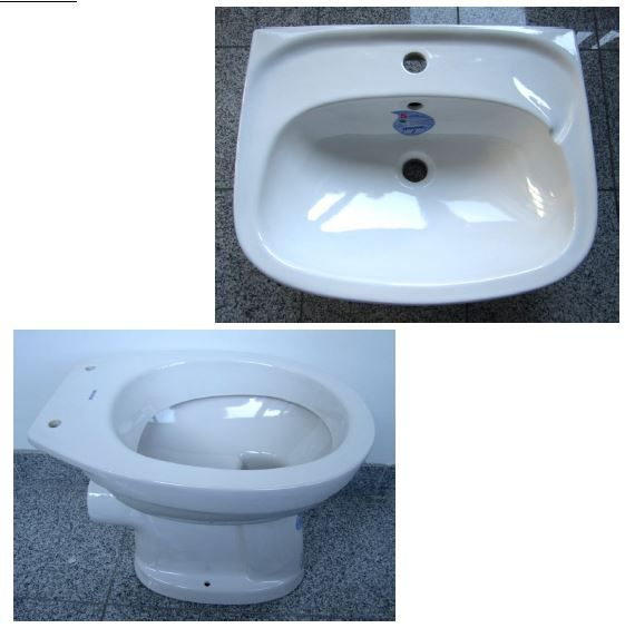 Badezimmer-Set in der Farbe Weiss mit folgenden 2 Bestandteilen aus