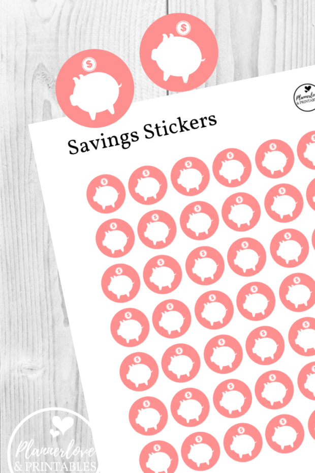 2056-1~~Piggy Bank Savings Plan Planner Stickers.