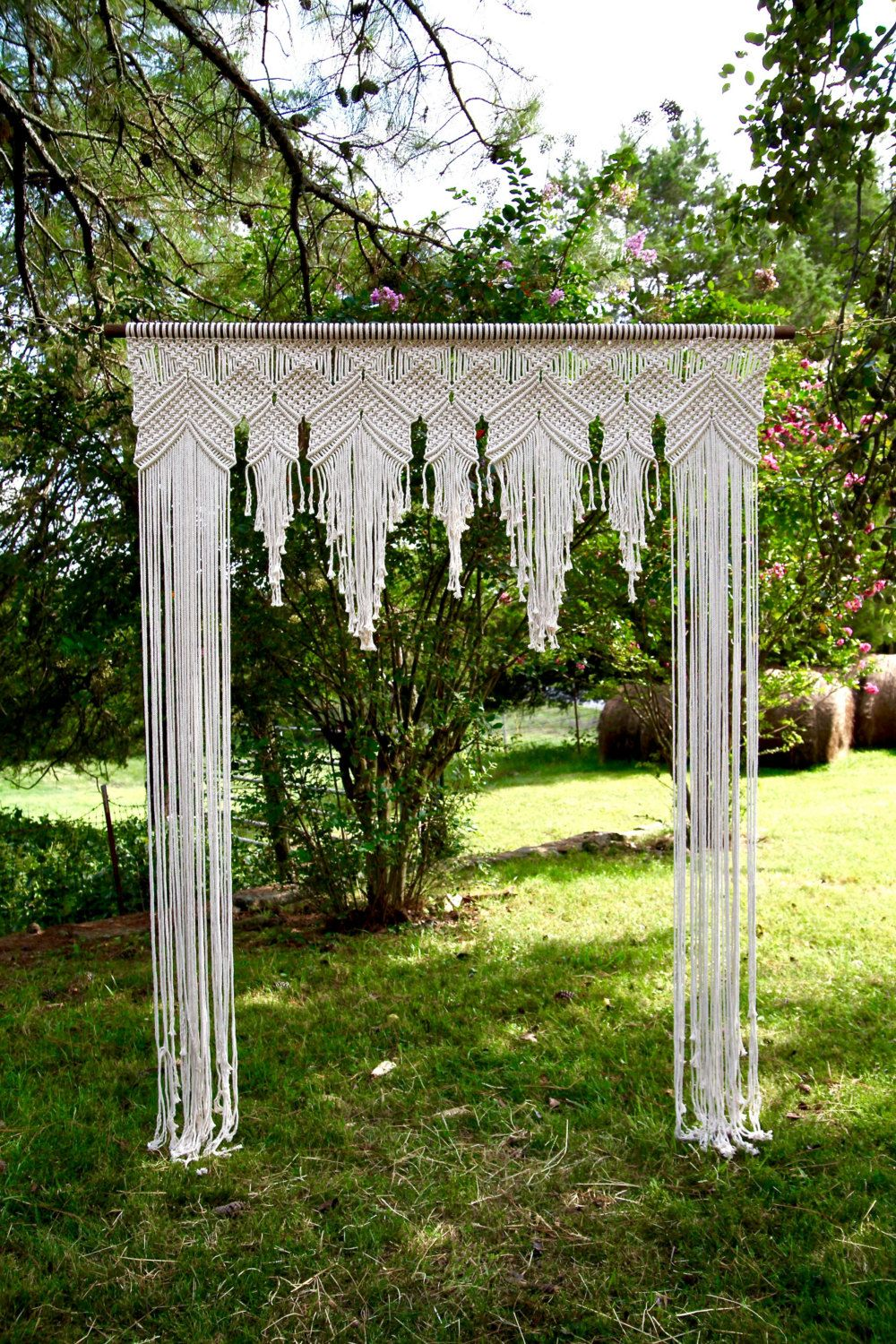 NEW Macrame Wedding Arch 6 X 8 Natural White By BermudaDream