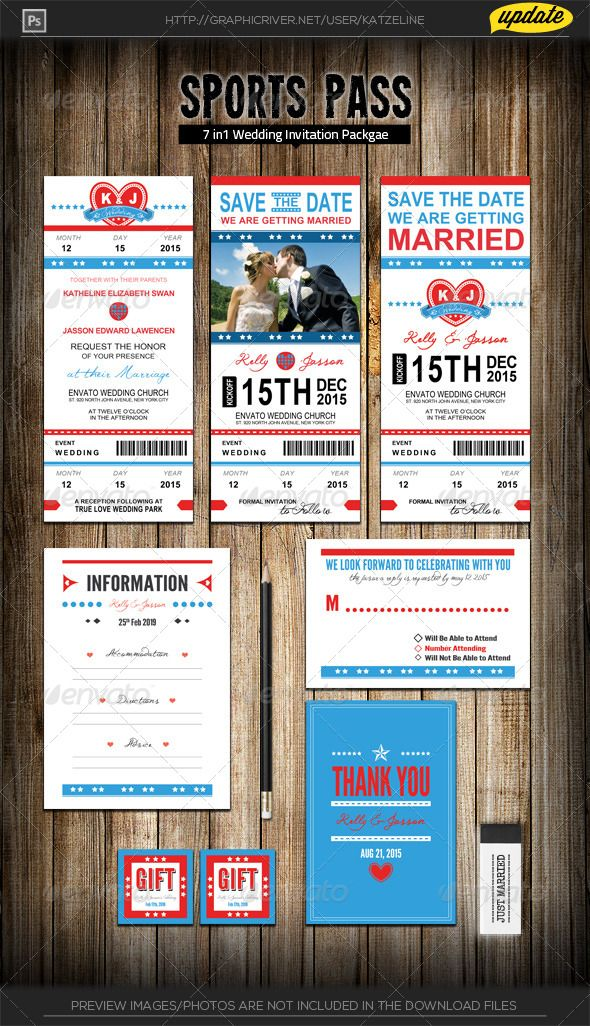 Wedding Invitation Package - Sports Pass | Wedding invitation ...
