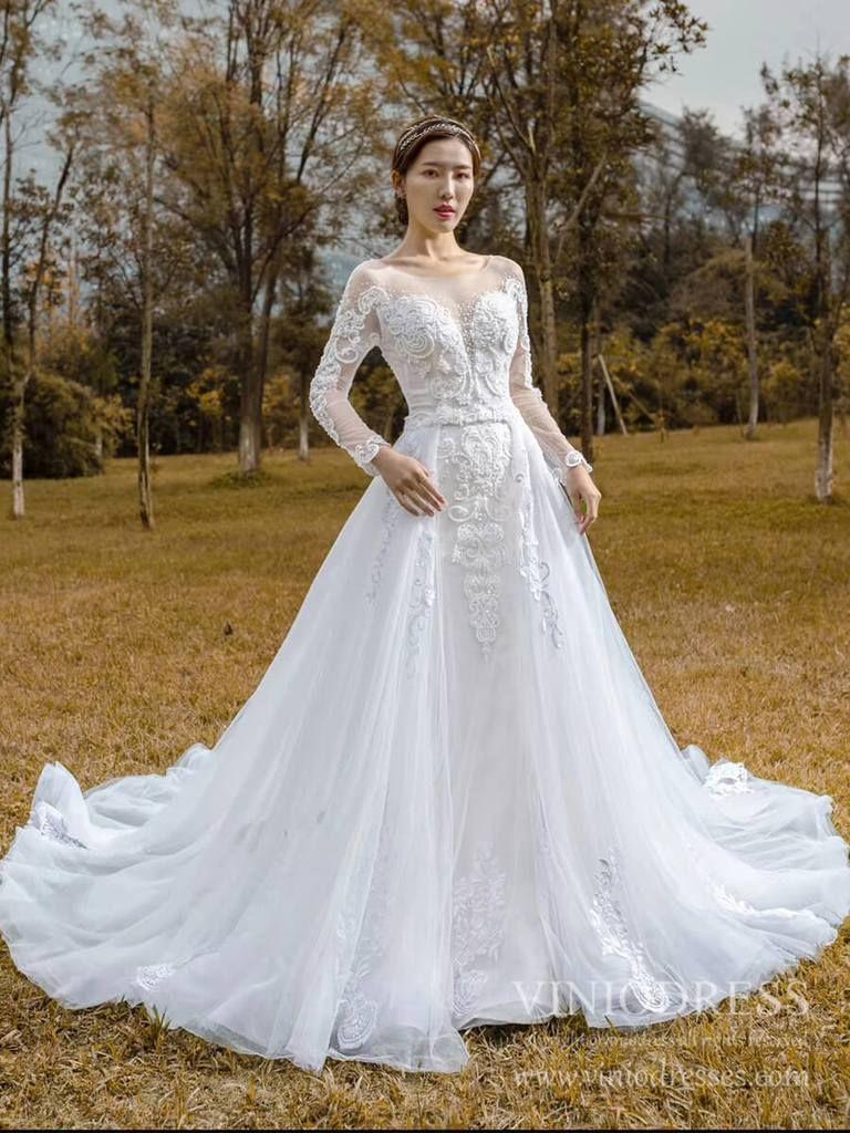 Long sleeve mermaid lace wedding dresses detachable train