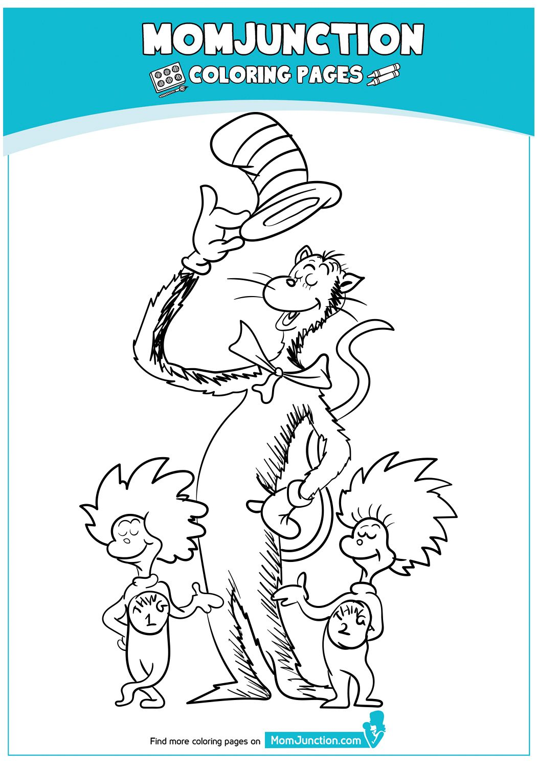Cat In The Hat With Thing 1 And 2 Coloring Pages Coloring Books