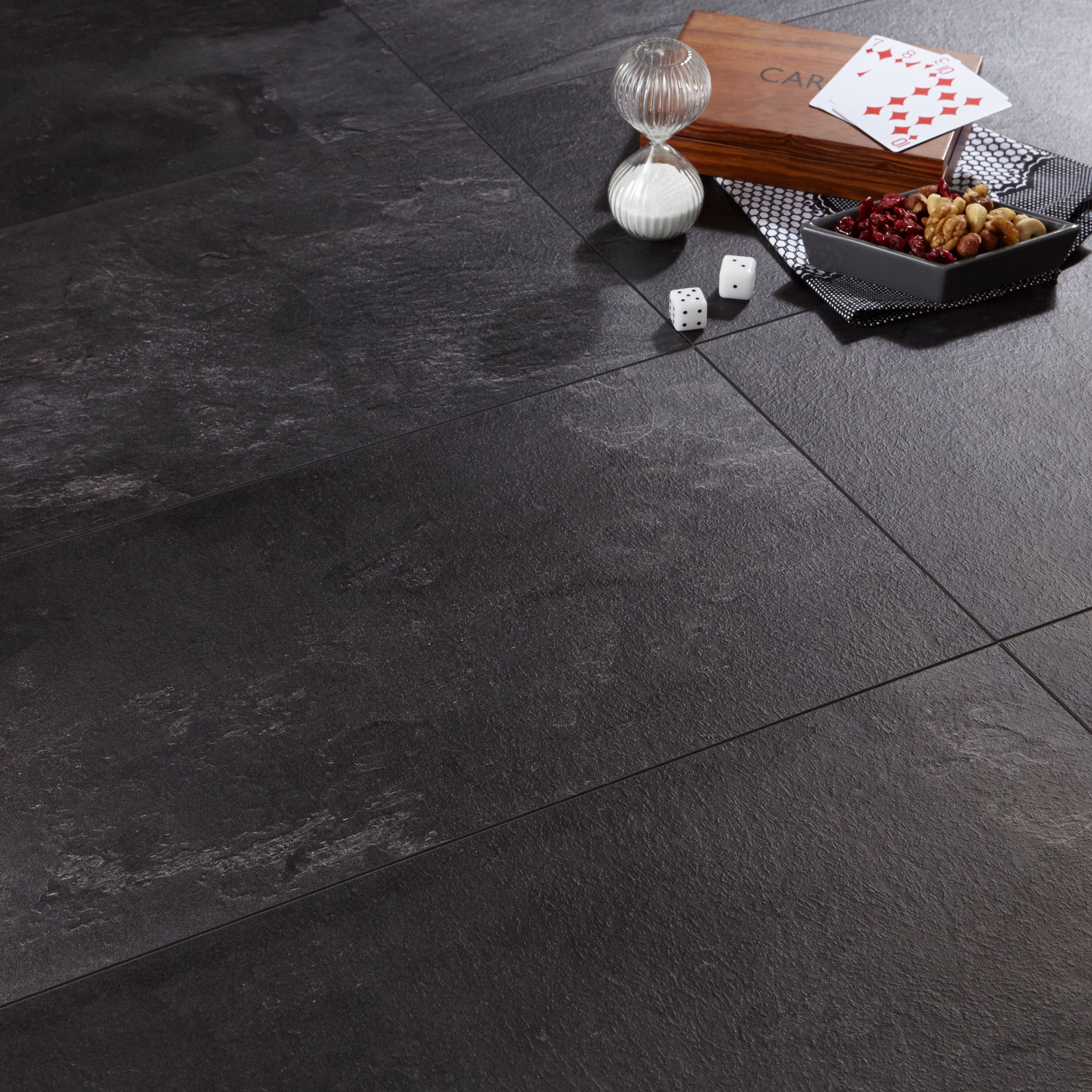 Harmonia Black Slate Tile Effect Laminate Flooring 2.05 m²