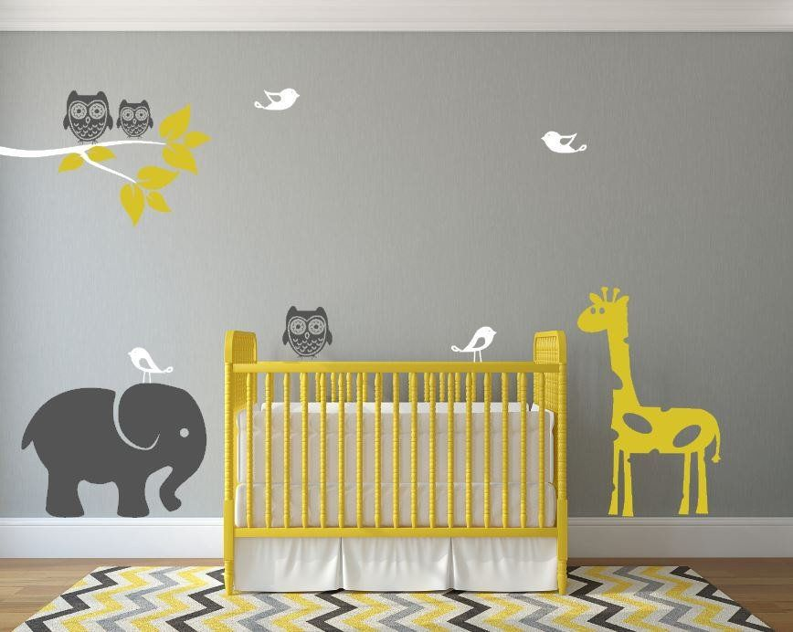 Boy Or Girl Nursery Wall Decals With Cute Jungle Animals In ...
