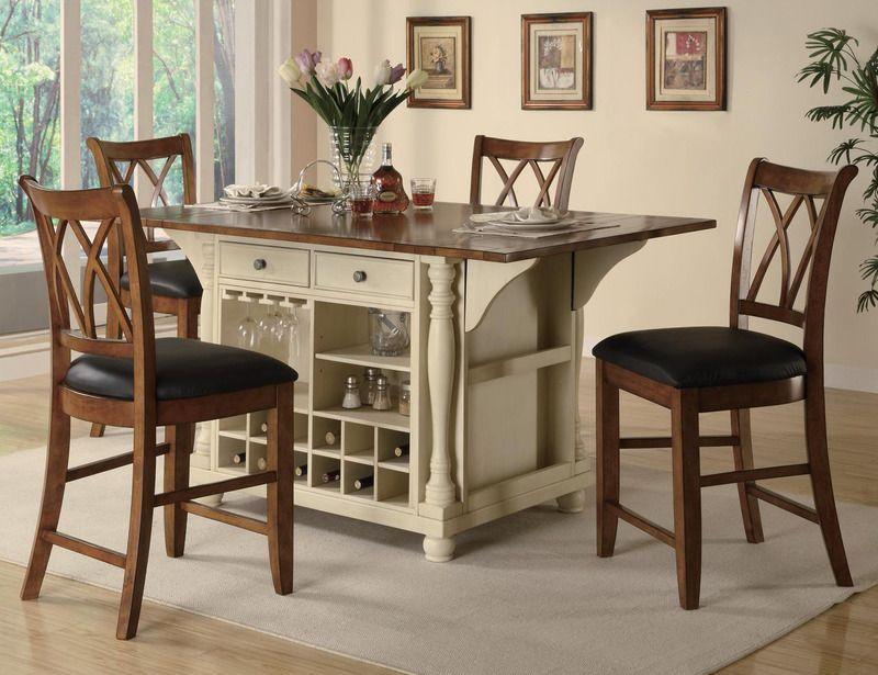 5 pc buttermilk cherry wood kitchen island counter chairs wine rack