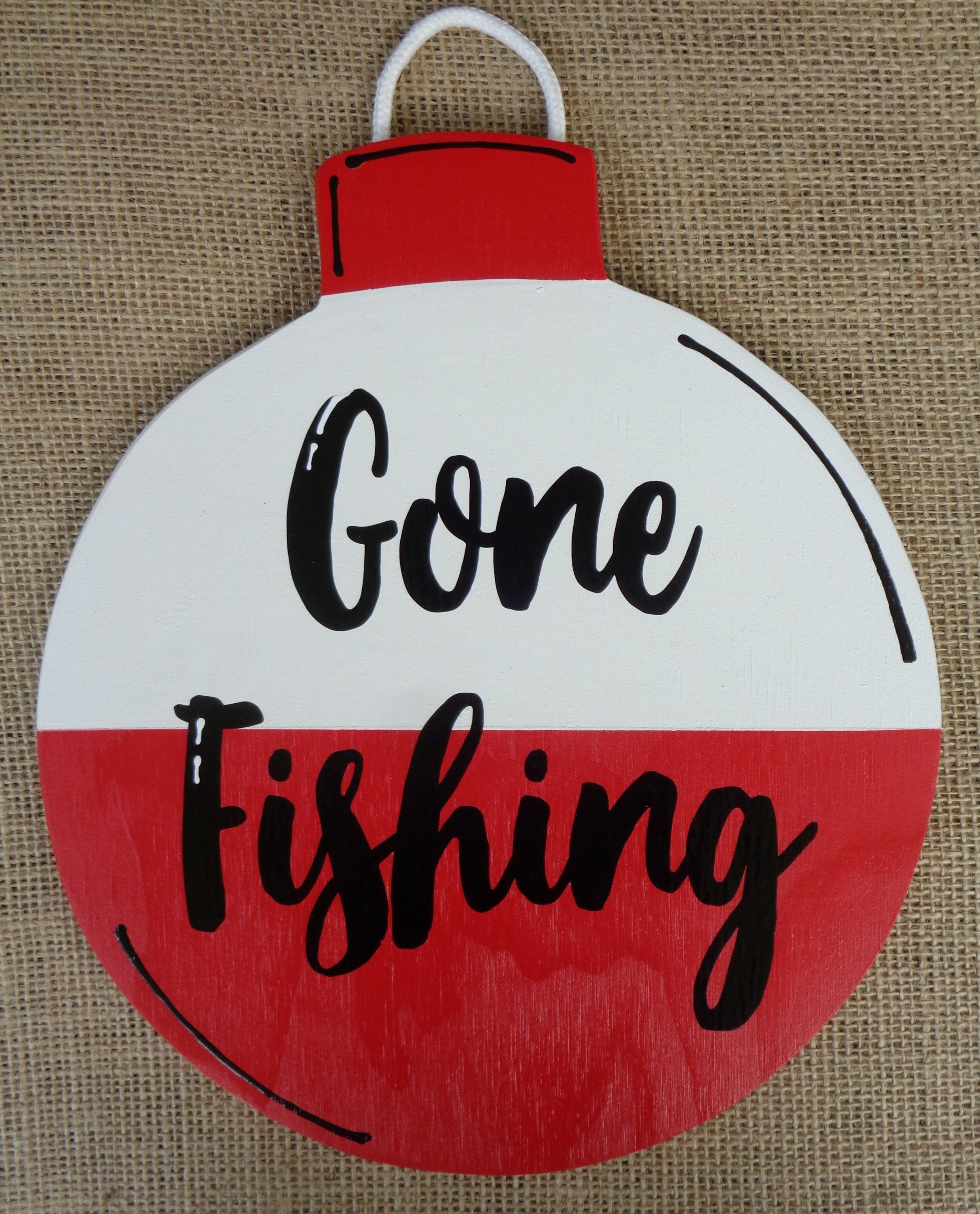 Gone Fishing Bobber Sign Handcrafted Plaque Wood Wooden Wall Etsy In 2020 Hand Painted Decor Gone Fishing Sign Fishing Bobber