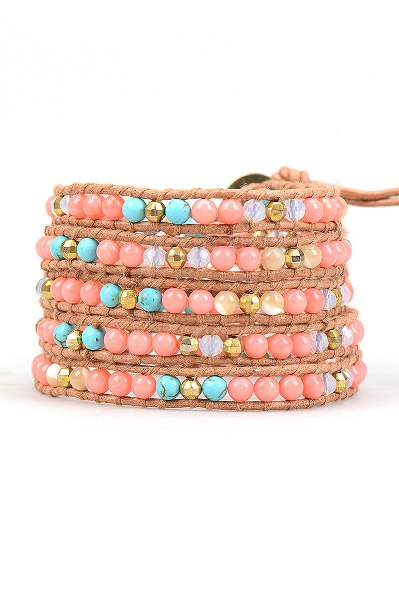 Baby Pink Coral, Pearl and Quartz Bracelet on Brown Leather