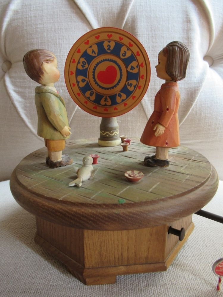 Anri Music Box Wheel of Fortune Hand Carved Wood Thornes Swiss 28 Note Vintage #Anri | Wheel of ...